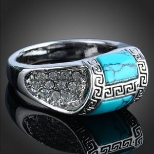 Jewelry - Size 5 Silver Turquoise and White Topaz Ring 🎁💍
